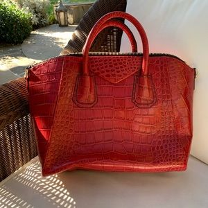 NEVER USED red snakeskin handbag